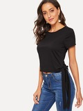 Knotted Hem Solid Crop Tee