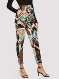 Paper-bag Waist Chain Print Pants