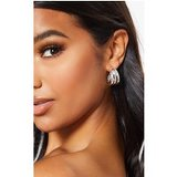 Silver Mini Triple Row Earring Hoops