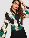 Tie Neck Chain Print Curved Hem Satin Blouse