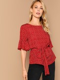 Flounce Sleeve Heart Print Belted Top