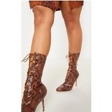 Snake Print Mid Heel Lace Up Ankle Boot