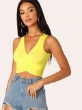 Neon Yellow Cross Wrap Knot Back Top