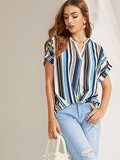 V Neck Rolled Cuff Striped Top