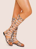 Snakeskin Pattern Cut Out Sandals