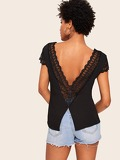Lace Panel Button Front Backless Blouse