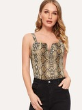 V-cut Front Snakeskin Fitted Top
