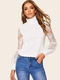 High Neck Lace Balloon Sleeve Top