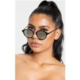 Black On Black Silver Brow Bar Round Sunglasses
