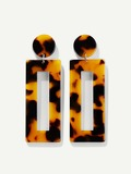 Tortoiseshell Pattern Open Rectangle Drop Earrings 1pair