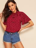 Tie Neck Pleated Detail Confetti Heart Print Top