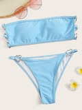 Heart Ring Detail Bandeau With Tanga Bikini