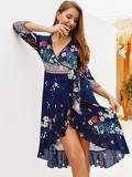Folk-custom Floral Print Ruffle Hem Knot Side Wrap Dress