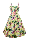 50s Tropical & Flamingo Print Cami Dress