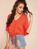 Button Up V Neck Knotted Front Shirt