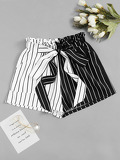 Two Tone Striped Self Tie Shorts