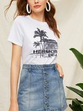 Tropical And Letter Print Tee