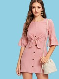 Bell Sleeve Knot Front Buttoned Dress