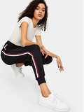 Waist Drawstring Striped Tape Ribbed Knit Pants