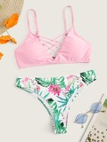 Lattice Top With Random Tropical Bikini Set