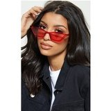 Red Narrow Slim Angular Cat Eye Sunglasses