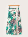Button Front Scarf Print Skirt