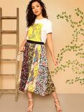 Elastic Waist Mixed Print Pleated Skirt