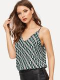 V Neck Crop Geo Print Cami Top