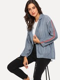 Pinstripe Drop Shoulder Blazer