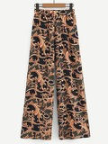 Damask Print Wide Leg Pants