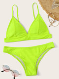 Neon Lime Triangle Top With Hipster Bikini Set