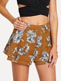 Double Layer Wide Leg Floral Shorts