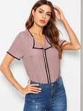 Contrast Binding Collar Blouse