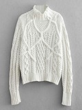 High Neck Twisted Knit Jumper