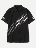 Men Striped Print Polo Shirt