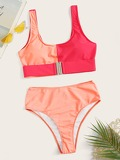 Random Two Tone Buckle Top With High Waist Bikini