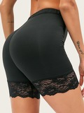 Lace Panel Solid Shorts