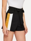 Cut And Sew Self Tie Waist Shorts