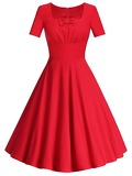50s Zip Back Bow Dress