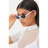 WHITE ROUNDED HALF FRAME RETRO SUNGLASSES