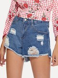 Distressed Frayed Hem Shorts