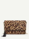 Leopard Pattern Chain Clutch Bag