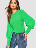 Buttoned Cuff Solid Blouse
