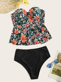 Random Floral Peplum Top With High Waist Tankini Set