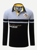 Men Letter Print Striped Polo Shirt