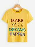 Sequin Slogan T-shirt