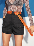 Multi-pocket Shorts With Push Buckle Belt