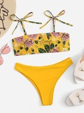 Shoulder Self Tie Floral Pattern Bikini Set