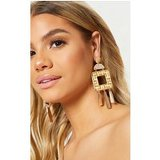 Gold Woven Straw Square Drop  Earrings