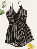 Striped Belted Cami Playsuit